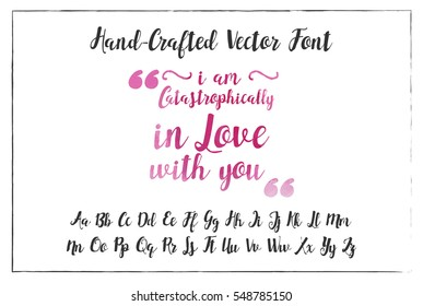 Hand Drawn Font Watercolor Alphabet Calligraphy Type