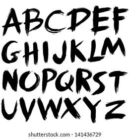 hand drawn font,brush stroke alphabet,grunge style