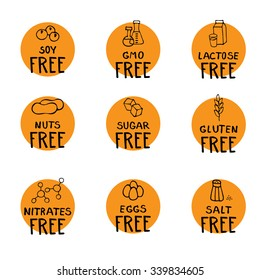 Hand drawn food dietary label set. Natural colors. Brown on orange round background.