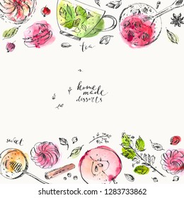 Hand drawn food and drink illustration. Ink and watercolor sketch of green tea, tea cup, honey, apple, zest, herbs, tart, marshmallow, spice. Tea room and menu background design.