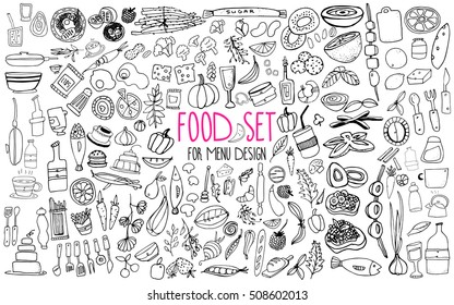 Hand drawn food elements. Set for menu decoration. Cartoon. Simple stylized forms. Black and white
