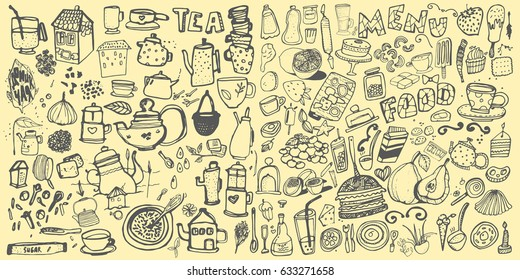 Hand drawn food elements. Set for menu decoration. Cartoon. Simple stylized forms. Black and white. food. food.food.for menu decoration. for menu decoration.