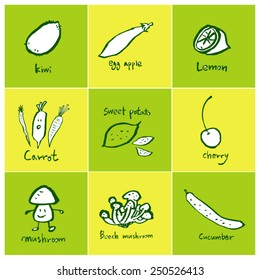 Hand drawn food ingredients - vegetable and fruit illustrations - vector