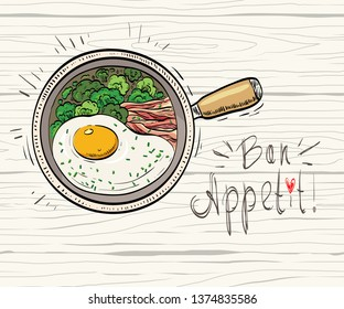 Hand drawn food sketch with omelet broccoli and bacon on the pan. Cartoon colored illustration. Top view. All decorative elements are located on different layers.