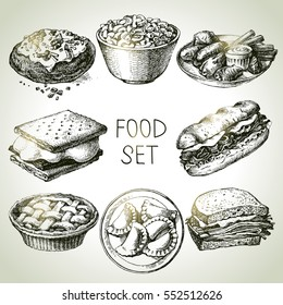 Hand drawn food sketch set of steak sub sandwich, apple pie, smores, macaroni and cheese, buffalo chicken wings, pierogi dumplings, backed potato, beef sandwich. Vector vintage illustrations
