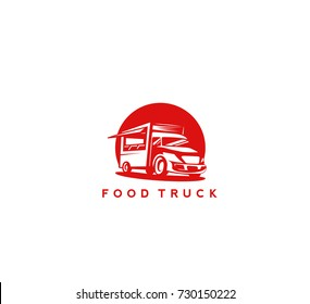 Hand drawn food truck on red background, chef and menu, buy and sell, delivery, vector illustration