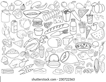 Hand drawn food vector collection