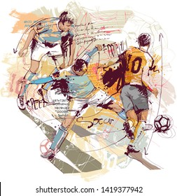 Hand drawn football sketch isolated on white background. Only one layer inside.