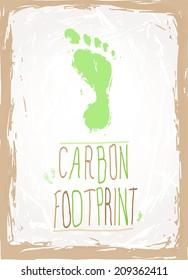 Hand drawn footprint with hand written text carbon footprint, EPS 10