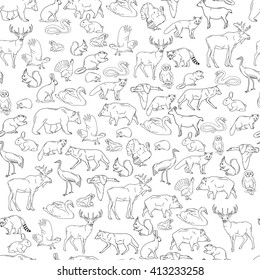 Hand drawn forest animals. Animals seamless background. Vector illustration in line art isolated