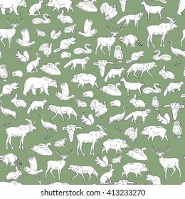 Hand drawn forest animals. Animals seamless background. Vector illustration in line art