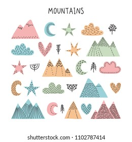 Hand drawn forest objects set. Creative scandinavian woodland background with trees, stars, clouds and mountains. Vector illustration