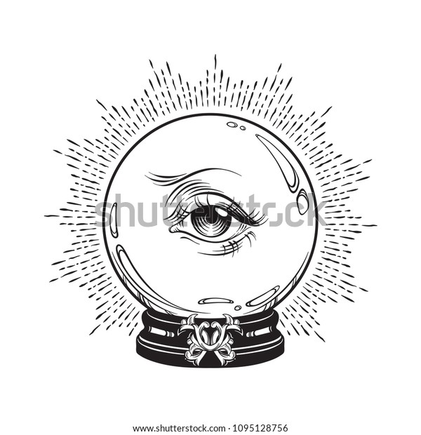 Hand drawn fortune telling magic crystal ball with eye of providence . Boho chic line art tattoo, poster or altar veil print design vector illustration