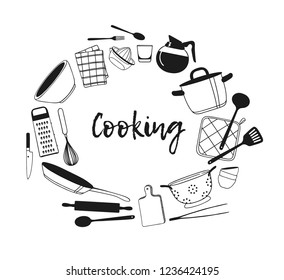 Hand Drawn Illustration Cooking Tools Creative Stock Vector Royalty