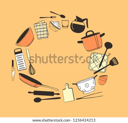 Hand Drawn Frame Kitchen Things Tools Stock Vector Royalty Free