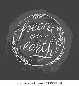 """Hand drawn frame with words """"Peace on earth"""""""