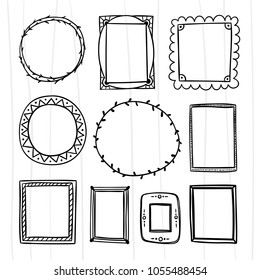Hand drawn frame and wreath set. Picture and photo frames for graphic design