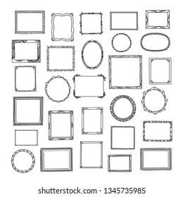 Hand drawn frames big collection. Cute cartoon style borders. Vector design.