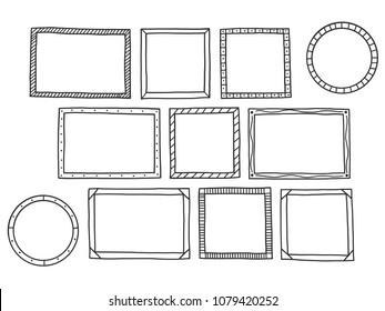 Hand drawn of Frames doodle set, banner square, vector illustration design.