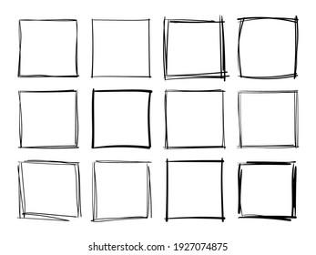 Hand drawn frames. Handdrawn square frame. Vector borders grunge template set.