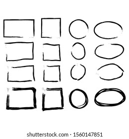 Hand drawn frames set. Cartoon style. Square, rectangle, circle, oval