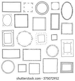 Hand drawn frames set. Cartoon style. Vector.
