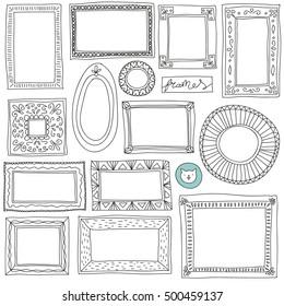 Hand drawn frames set. Cartoon style. Vector elements.