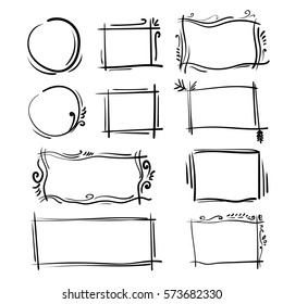 Hand drawn frames set. Cartoon vector square and round borders. Pencil effect shapes isolated.
