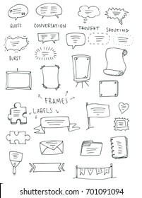 Hand drawn frames set, cartoon style, vectors.