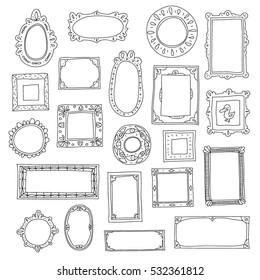 Hand drawn frames set. Doodle style. Vector elements.