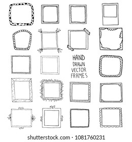 Hand drawn frames set, vector
