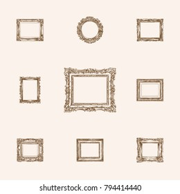 Hand Drawn Frames Sketches Set. Collection Of Frame, Painting, Cadre And Other Sketch Elements.