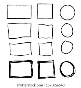 Hand drawn frames. Vintage doodle sketch picture frame doodle labels. Blank black square cadre label elegant sketches painted by hands scribble border isolated icon set