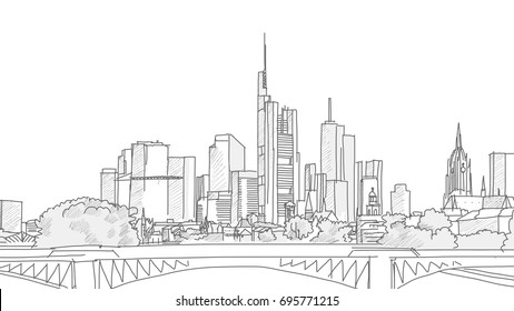 Hand drawn Frankfurt Skyline Panorama Sketch. Vector illustration. Grey strokes on white background