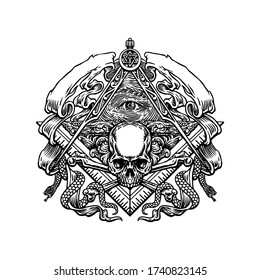 Hand drawn Freemason Emblem, With All seing eyes, square, compasses, serpent, skull and bones, vector illustration. cool for t-shirt, emblems, patch, sticker, etc