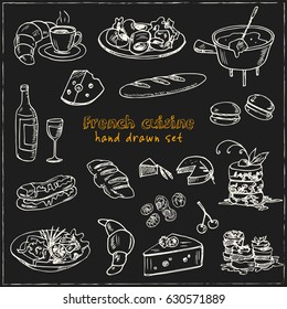 Hand drawn French cuisine food sketches. Set of doodles, Different kinds of main dishes, desserts, beverages. Vector set isolated on white background for cafe menu, fliers, chalkboard