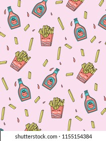 Hand drawn french fries pattern vector design