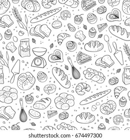 Hand drawn fresh bakery pattern. Seamless vector background.