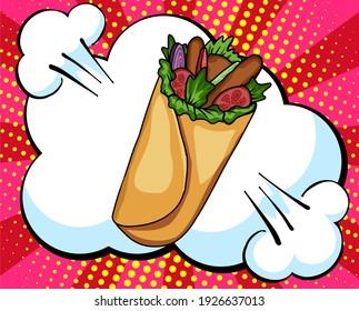 Hand drawn Fresh tortilla wraps. Vector Fast Food sketch. Comic book style, pop art retro vector illustration