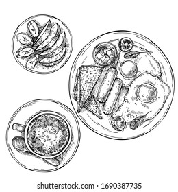 Hand drawn fried eggs with sausages, tomato, butter and toasts.Sliced fruit on a plate: apple and banana. Cup of tea, coffee, hot chocolate on plate. Sketch top view breakfast.