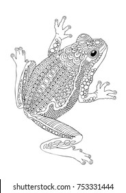 Hand drawn frog. Sketch for anti-stress adult coloring book in zen-tangle style. Vector illustration  for coloring page, isolated on white background. Template for poster, t-shirt or tattoo.