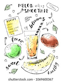 Hand drawn fruit smoothie jar with melon, kiwi, lime, mint leaves, lettering. Ink sketch with watercolor stains. Summer drink recipe card design template.