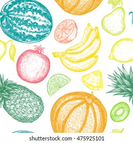 Hand drawn fruits seamless pattern. Detailed illustration in ink engraving technique. Vintage retro background. Design for textile, paper. Elements on white background.