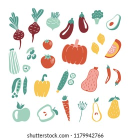 Hand drawn fruits and vegetables collection isolated on white background. Vector illustration for menu design, packaging, cooking book.