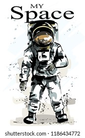 Hand drawn full body astronaut. Stylish spaceman at moon. Astronaut standing. Sketch.