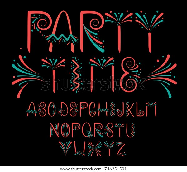 Hand drawn, fun alphabet design, suitable for celebration
