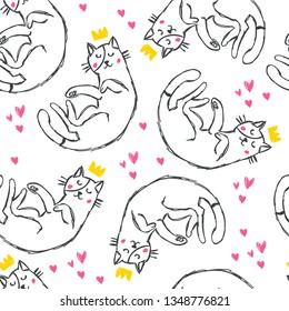 Hand drawn funny cats with crowns and hearts seamless pattern. Cute cartoon playful cats. Textile with outline animals kids design. Doodle style children illustration for clothes,  fabric - Vector