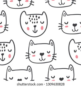 Hand drawn funny cats in sketch style. Vector seamless pattern. Cute cartoon kitten faces. Textile with outline animals kids design. Doodle style children illustration for clothes,  fabric - Vector