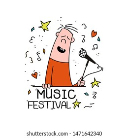 Hand drawn funny characters singer. Great element for music festival or t-shirt. Vector concept.