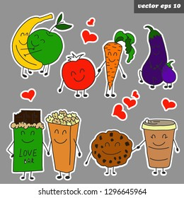 Hand drawn funny colored character stickers. Vegetables and fruits - banana, apple, carrot, tomato, biscuit, coffee, cocolate, pop corn,  eggplant. Sticker set